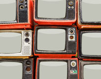 Mucchio di vecchia retro TV rossa Fotografie Stock