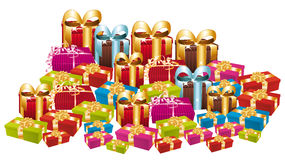 Mucchio enorme dei regali festivi variopinti. royalty illustrazione gratis