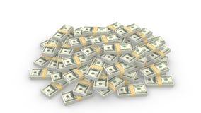 Mucchio enorme delle banconote in dollari casuali dell'americano 100 su bianco illustrazione vettoriale