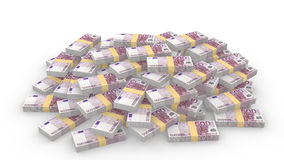 Mucchio enorme delle 500 euro fatture casuali su bianco illustrazione di stock