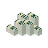 Mucchio isometrico piano 3d del infographics di web del pacchetto della banconota del dollaro Fotografie Stock Libere da Diritti