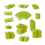 Mucchio piano del denaro contante di vettore, insieme della pila illustrazione di stock