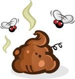 Mucchio puzzolente della poppa con il fumetto delle mosche Immagini Stock Libere da Diritti