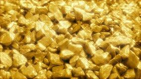 Mucchio scintillante delle pepite di oro archivi video