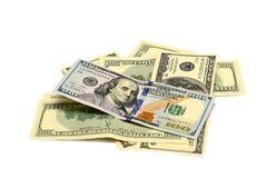 Mucchio vecchie e nuove delle note dei dollari, Fotografia Stock