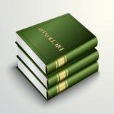 Mucchio verde del libro del dizionario di vettore Immagine Stock Libera da Diritti
