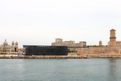 MuCEM、堡垒圣徒吉恩和马赛大教堂,法国 免版税库存图片