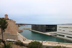 MuCEM和堡垒圣徒吉恩在马赛,法国 图库摄影