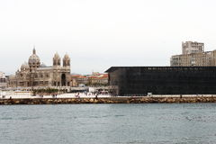 MuCEM and Marseille Cathedral, France Royalty Free Stock Photos