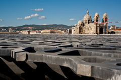 MuCem Marseille. The  latticework shell of fibre-reinforced concrete of the Museum of European and Mediterranean Civilizations (MuCEM) in Marseille on July 29 Royalty Free Stock Image
