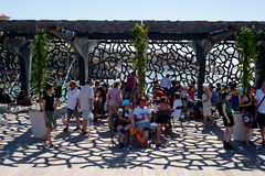 MuCem Marseille. Visitors on the terrace of The Museum of European and Mediterranean Civilizations (MuCEM) in Marseille on July 29, 2013.  The building is Stock Images