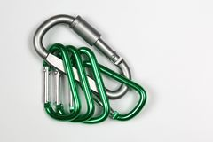 Much bonded to each other aluminum carabiners Royalty Free Stock Photos