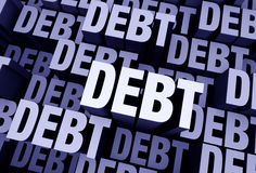 So Much Debt Everywhere. A 3D blue gray background filled with the word DEBT repeated many times a different depths Stock Photography
