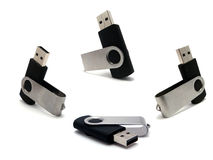 Much flash. Four usb flash drive. Element of design royalty free stock image