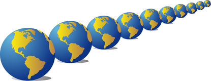 Much globes. Vector image ten globes of the blue colour with mainlands, situated abreast royalty free illustration