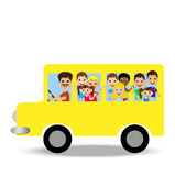 Much little child in yellow bus Stock Images