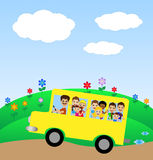 Much little child in yellow bus Royalty Free Stock Image