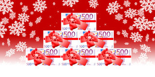 Much money for Christmas. Monetary pyramid Royalty Free Stock Photography