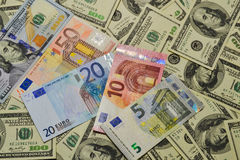 Much money. Many banknotes. Dollar, euro stock images