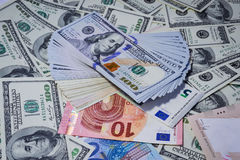 Much money. Many banknotes. Dollar, euro royalty free stock photos