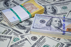 Much money. Many banknotes. Dollar, hryvnia royalty free stock images