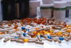 Much tablets and bottles Royalty Free Stock Photography