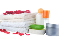 Much towels and accessories to bathing Royalty Free Stock Image