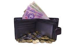 Much ukrainian money in a purse Stock Photography