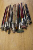 Much used art paint brushes Stock Photography