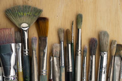 Much used art paint brushes Royalty Free Stock Photos