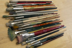 Much used art paint brushes Royalty Free Stock Photography