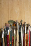 Much used art paint brushes Stock Images
