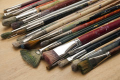 Much used art paint brushes Royalty Free Stock Images