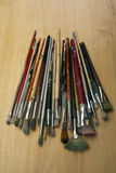 Much used art paint brushes Stock Photo