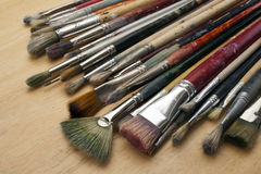 Much used art paint brushes Royalty Free Stock Image
