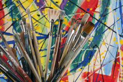 Much used artists paint brushes Royalty Free Stock Photography