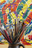 Much used artists paint brushes Royalty Free Stock Photo