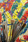 Much used artists paint brushes Royalty Free Stock Images