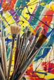 Much used artists paint brushes Stock Photo