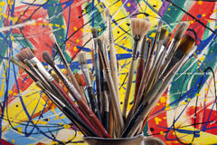 Much used artists paint brushes Royalty Free Stock Image