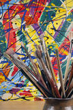 Much used artists paint brushes Stock Photography