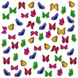 Much varicoloured insects butterfly Royalty Free Stock Photo