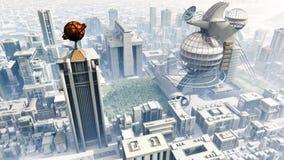 Mucha altitud del paisaje urbano de la ciencia ficción ilustración del vector