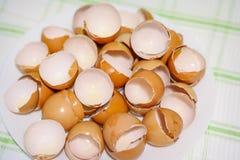 Mucha cáscara de huevo en una placa blanca fotografía de archivo libre de regalías