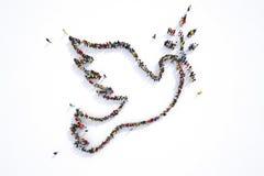 Mucha gente junto en una forma de la paloma representación 3d stock de ilustración