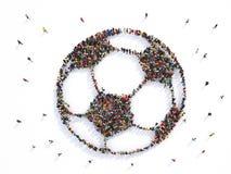 Mucha gente junto en una forma del balón de fútbol representación 3d libre illustration