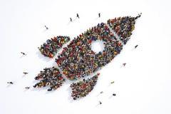 Mucha gente junto en una forma del cohete representación 3d stock de ilustración