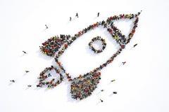 Mucha gente junto en una forma del cohete representación 3d ilustración del vector