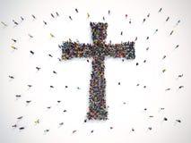 Mucha gente junto en una forma del crucifijo representación 3d stock de ilustración