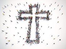 Mucha gente junto en una forma del crucifijo representación 3d ilustración del vector